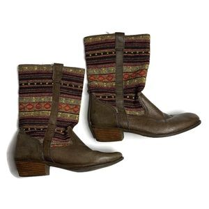Steve Madden Brown Knit Kilm Southern Boots